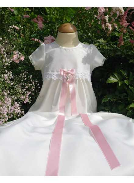 Christening gown Grace-Princess lace and satin fabric