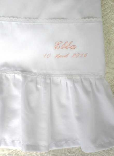 christening gown in cotton Grace-Memories with emroidery for baptism day