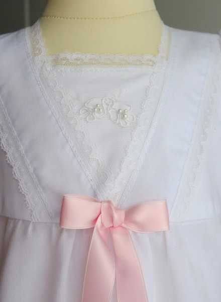 christening gown in cotton Grace-Memories with sweet lace