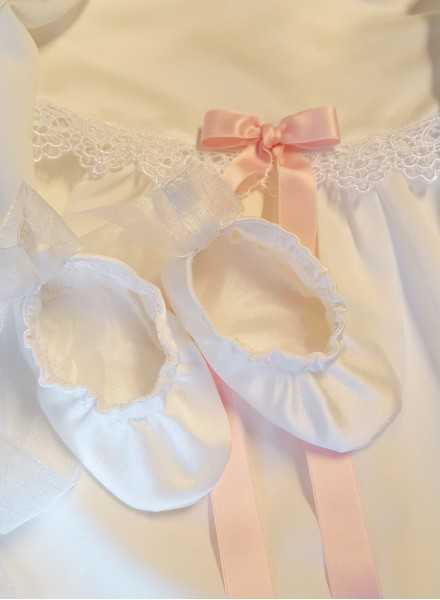 Christening gown Grace-Princess with pink bow