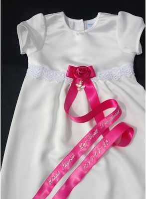 christening gown with cerise doproset