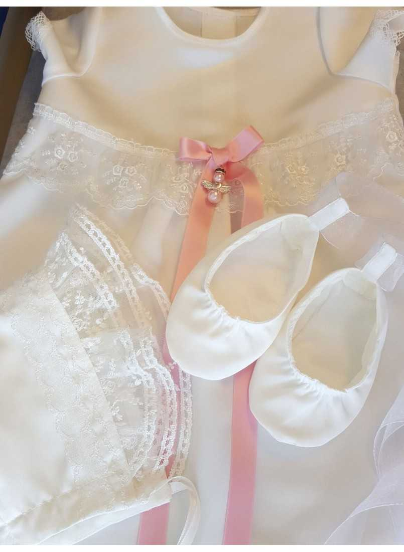 Baptism gown with christening bonnet and shoes