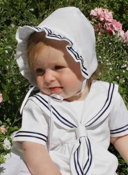 Baptism bonnet in sailor's style for boys and girls