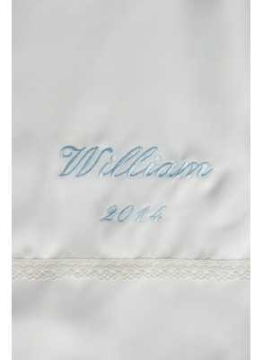 christening gown embroidery in light blue