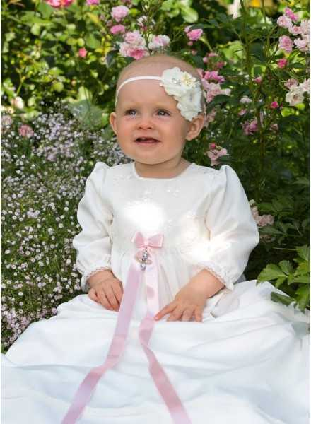 Christening gown Grace-Sofia with lovely lace off white for girls