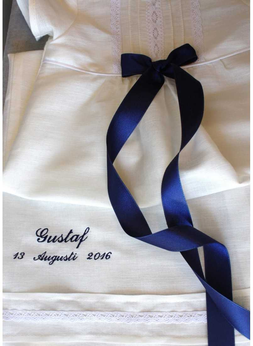 Christening gown with blue ribbon for boys