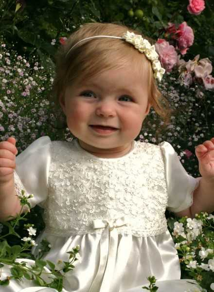 Lovely christening dress with lace and satin in off white with baptism bonnet for girls