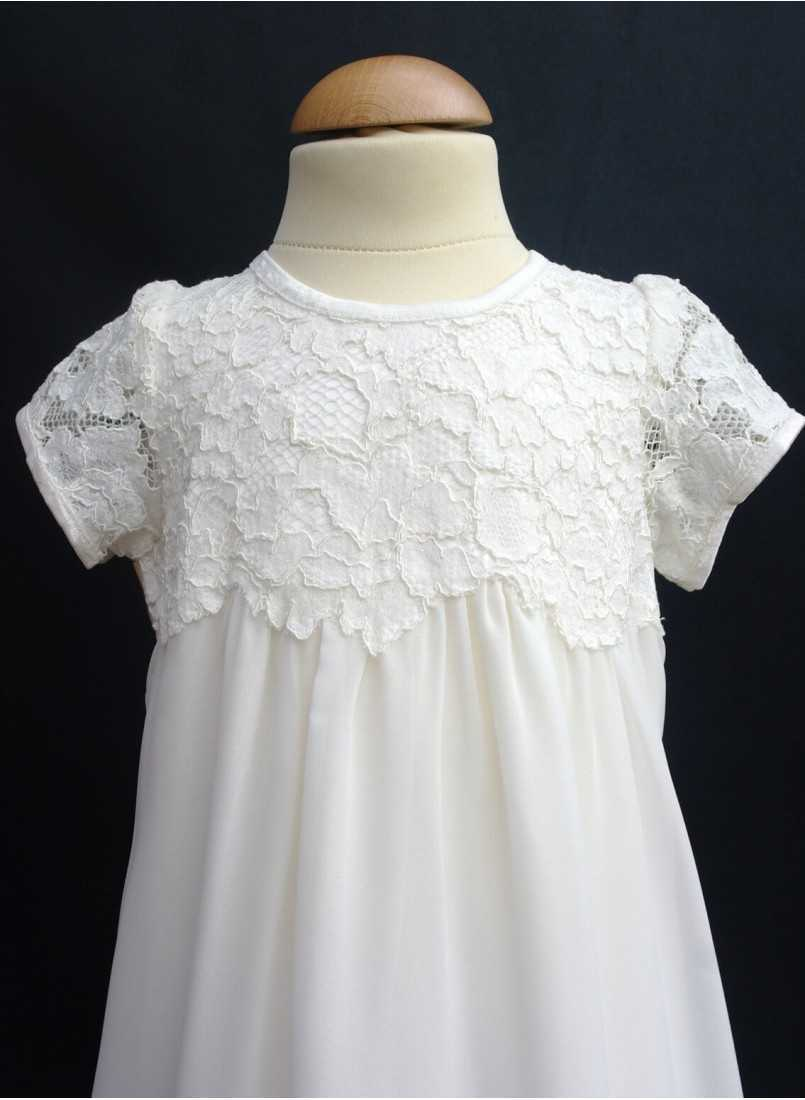 Baptism gown with hand sewn lace