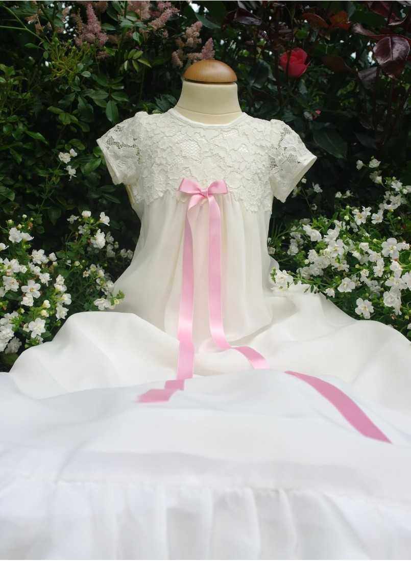 Baptism dress with a lovely long skirt