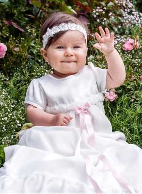 Christening gown Grace-Rose long skirt