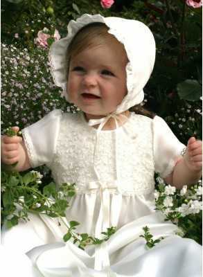 Baptism gown iin off white lace for girls