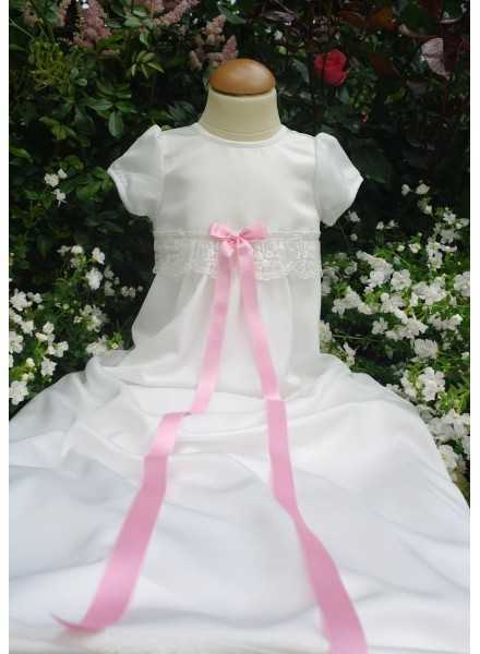Christening gown Grace-Sessan in tulle lace and pink ribbons