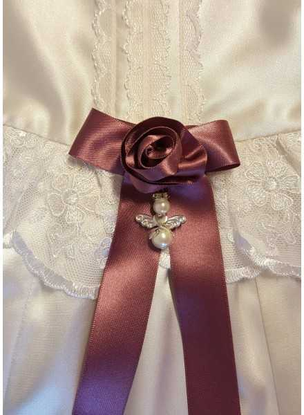 Grace-Molly beautiful off-white christening gown with handmade rose bow