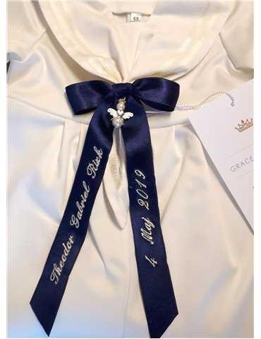 name embroidered baptismal diadem for girl