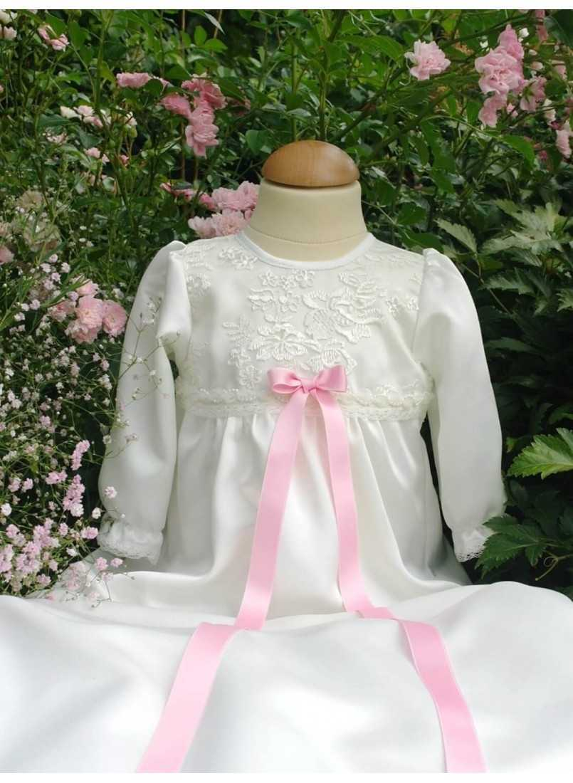 Baptism dress with pink bow