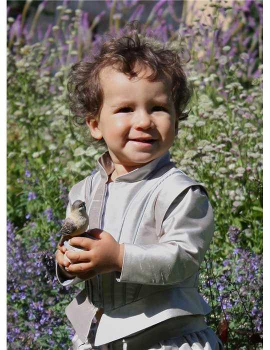 Dopklänning med rosa rosett