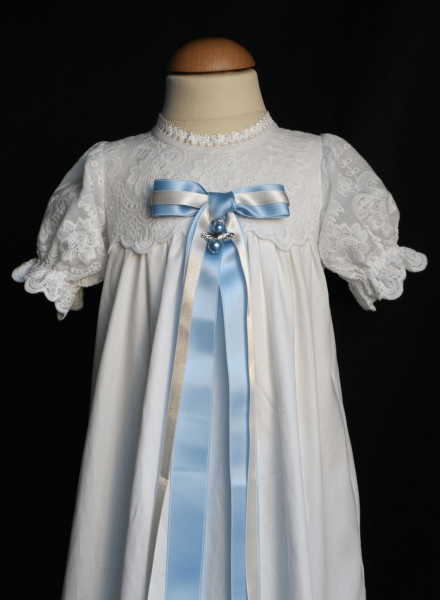 stylish baptism gown in cotton fabric