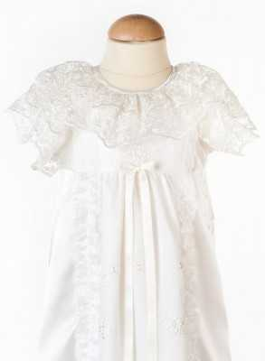 lace baptism gown in close-up