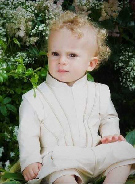 Wonderful christening clothes Prince Suit Grace Edgar in silk fabric in royal style for smal boys
