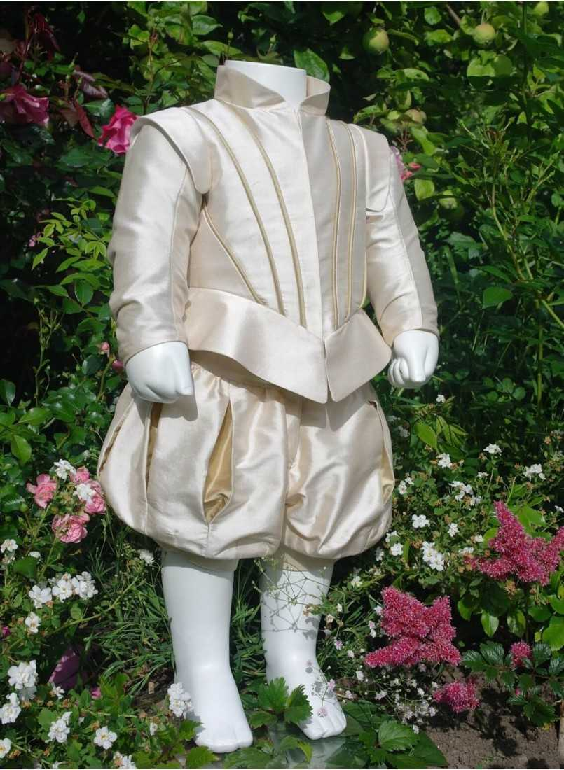 luxury christening clothes in champagne silk fabric