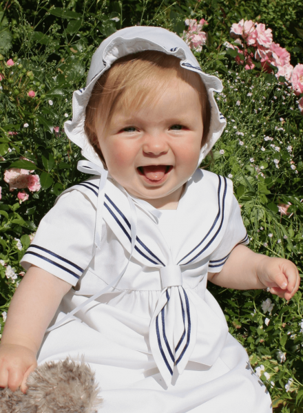 modern white Christening Gowns Cotton Sailor Dress with style for boys