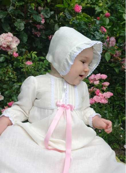CHRISTENING GOWN TRADITION ANTIQUE pink bow