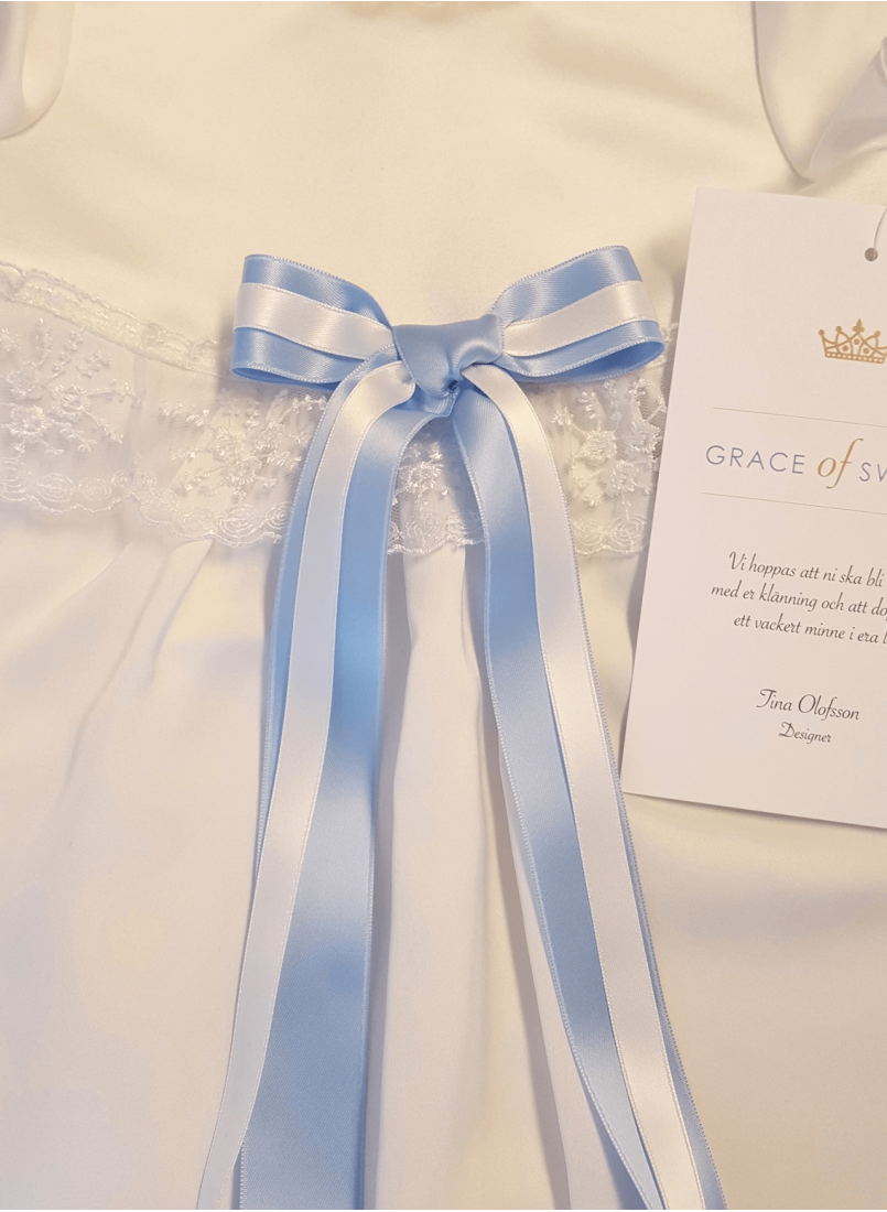 Baptism gowns with two bow ribbons