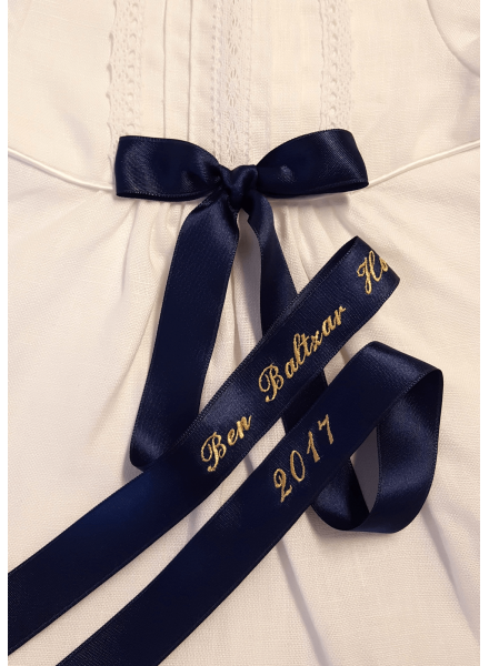 Christening gown Grace-Tradition navy look in white linen