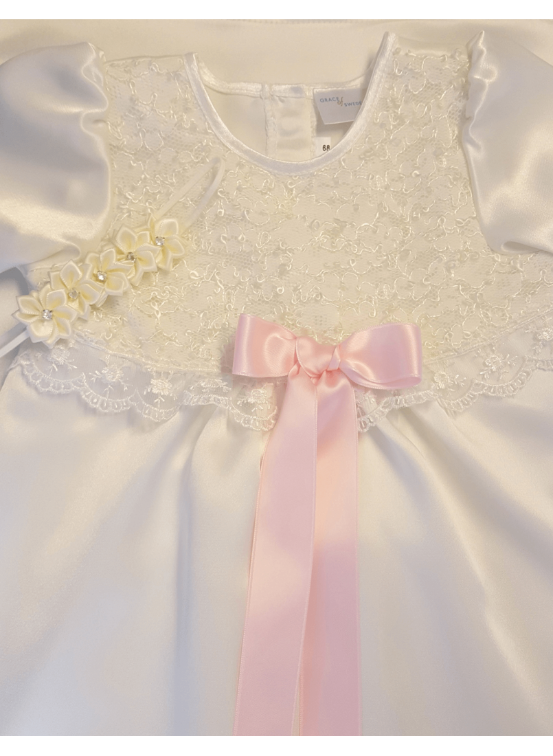 0035dce0c Lovely christening dress with lace and satin in off white with baptism  bonnet for girls