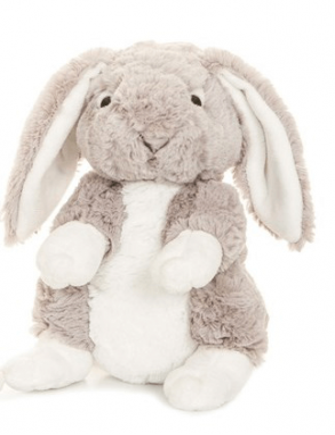 Grå kanin med namnbroderi