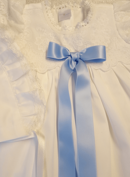 luxurious baptismal wear in off white embroidery fabric