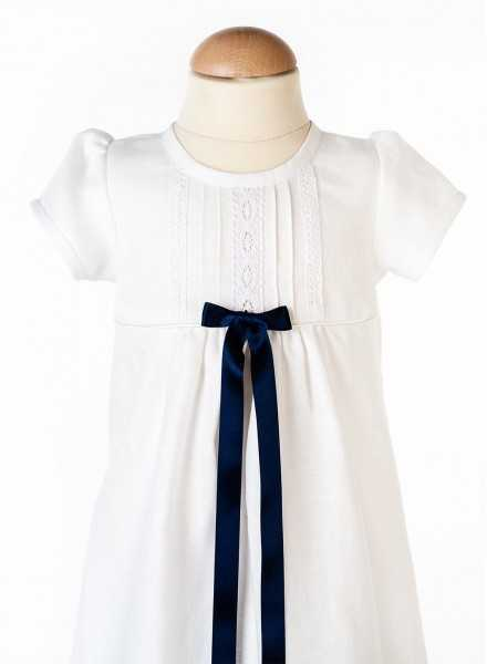 Christening gown Grace-Tradition Marin with blue bow