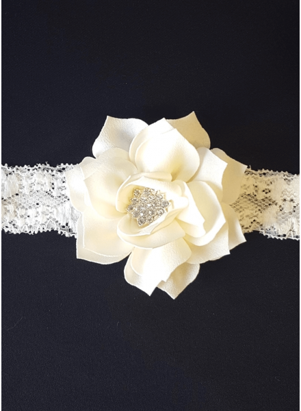Diadem with fabric rose and strass detail