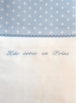 Baby bedding for boys with light blue embroidery