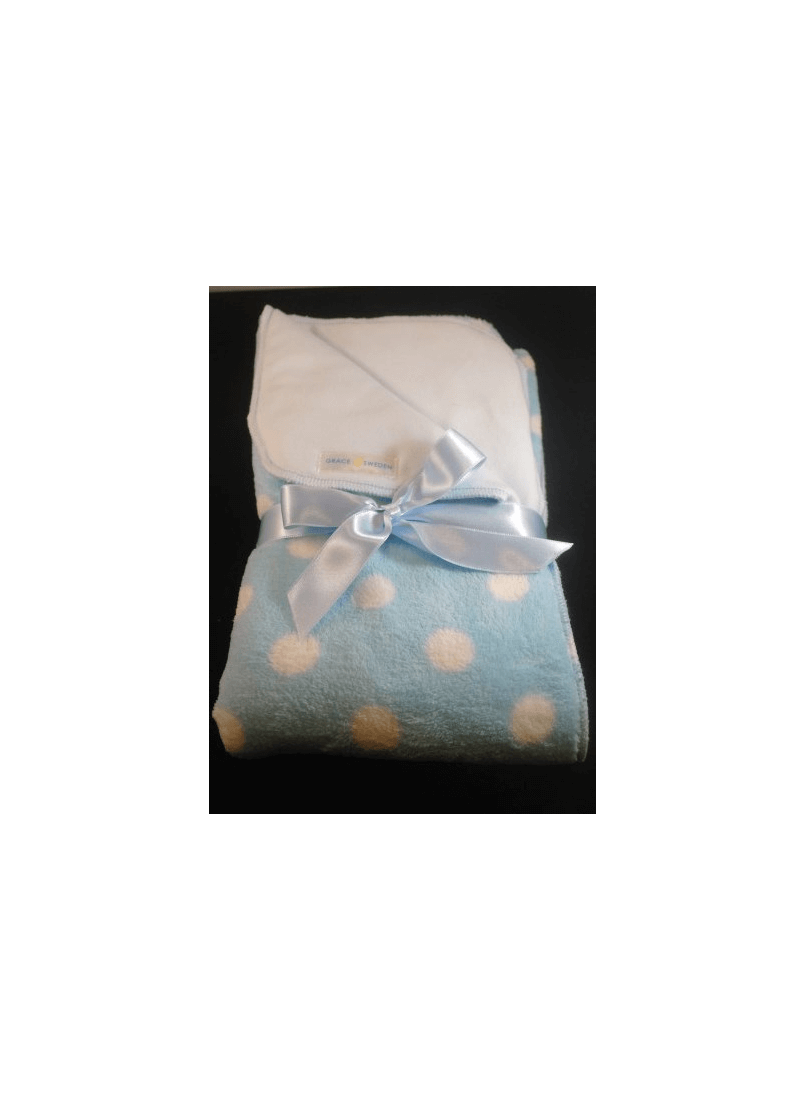 Light blue Baby blanket with dots