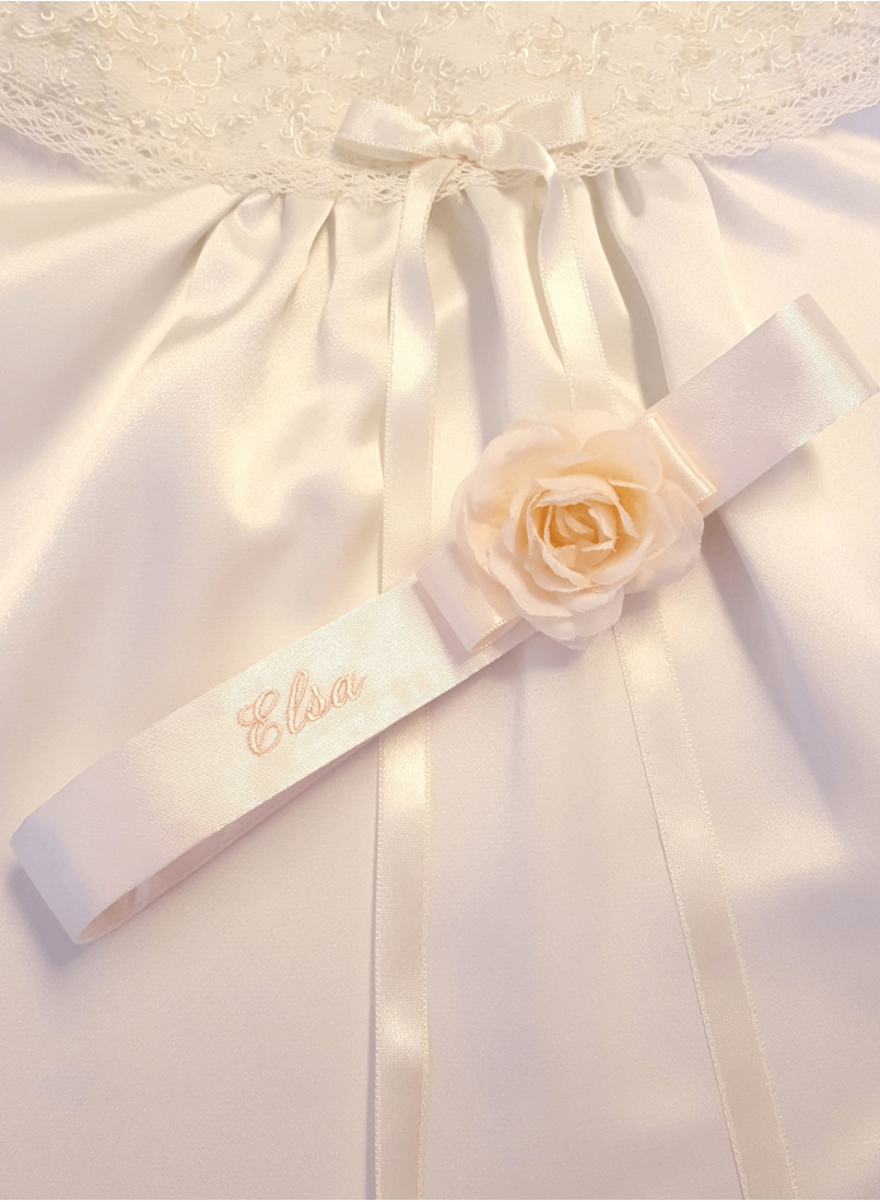 Baptismal diadem with name embroidery