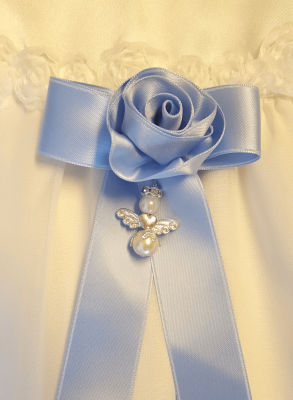 blue Baptism bow with rose