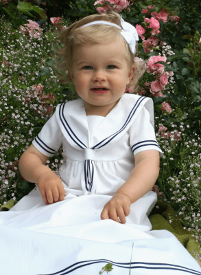 sailordress christening gown on the cutest girl