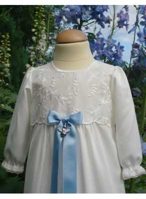 Baptism gown with blue baptismal bow