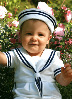 Christening bonnet Grace Sailor Hat to Sailor Suit in white cotton boys