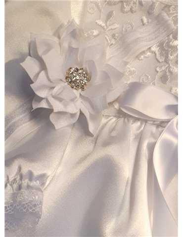 Diadem med rosett i vitt för dop