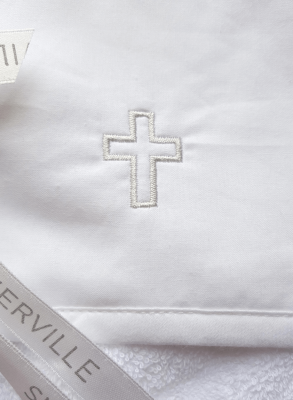Orthodox baptismal accessory with embroidered cross