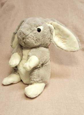 Baptism gift, Gray rabbit with embroider