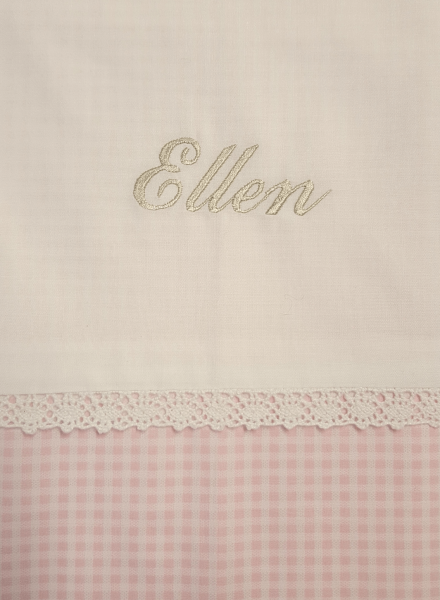 Bedlinen for cot bed with own choice of embroidery