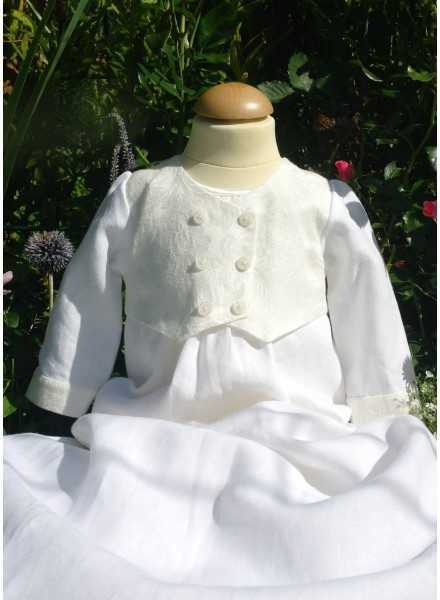 Christening gown Grace-Philip in white linen with vest