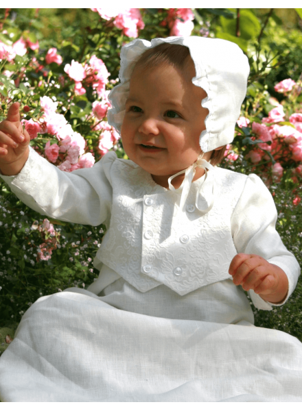 Christening gown Grace-Philip in off white linen with vest