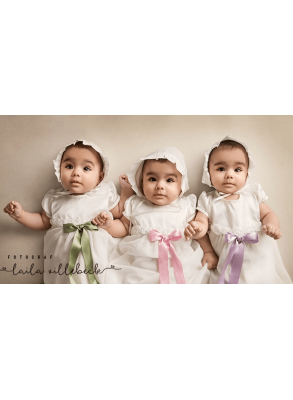 baby Triplets in christening gowns