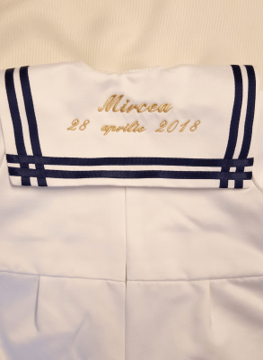 Sailor collar with gold embroidery for baptism