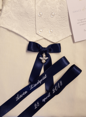 Baptism dress with luxurious baptism bow boys
