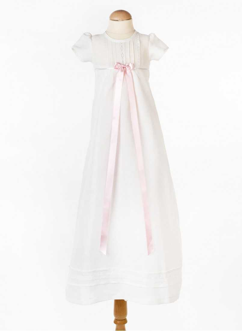 long beautiful linen baptism gown